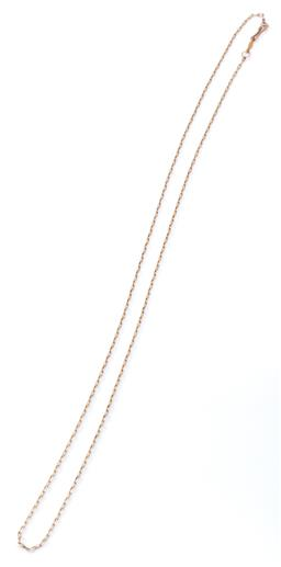 Sale 9169 - Lot 312 - A 12CT GOLD CHAIN; elongated cable links to push clasp, length 62cm, wt. 3.64g.