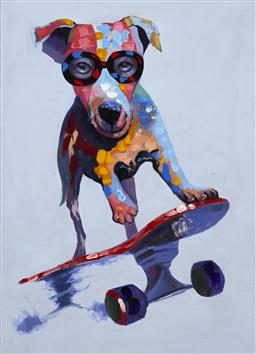Sale 9174JM - Lot 5098 - ARTIST UNKNOWN Dog on Skateboard acrylic on canvas 114 x 83 cm unsigned
