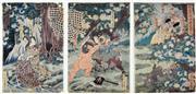 Sale 8330A - Lot 21 - Utagawa Yoshitsuya (1822 - 1866) - Untitled (triptych) 36 x 25cm, each