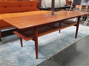 Sale 8839 - Lot 1022 - Teak Coffee Table With Rattan Shelf Below