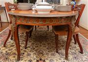 Sale 8882H - Lot 34 - Louis XVI transitional style extension dining table with a veneered and crossbanded top with brass mouldings, guilloche frieze and s...