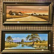 Sale 8941 - Lot 2057 - 2 x W. OShea, Bulga, Wybong Creek, Oils, both SLL, both 21x59cm
