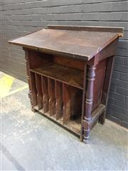 Sale 9002 - Lot 1018 - Vintage Oak Twin Lift Top Clerks Desk (h:118 x w:103 x d:62cm)