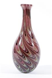 Sale 9018 - Lot 9 - An Italian Cased Feathery Caned Glass Vase, Probably Murano Glass, H:30cm