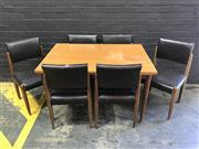 Sale 9039 - Lot 1046 - Vintage Teak Extension Dining Table with 6 Upholstered Chairs (h:75 x w:122 x d:84cm)