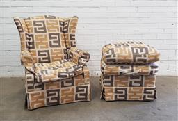 Sale 9108 - Lot 1024 - Wingback armchair with ottoman (h:105 w:83 d:78cm)