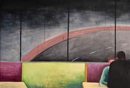 Sale 9125 - Lot 540 - Noel McKenna (1956 - ) Cafe Scene, 1989 oil on plywood 33 x 52 cm (frame: 44 x 61 x 3 cm) signed, titled and dated verso