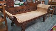 Sale 8390 - Lot 1600 - Carved Timber Chaise with Rattan Seat