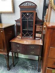 Sale 8598 - Lot 1020 - Georgian Style Mahogany Display or Side Cabinet, with pierced cornice, astragal door and shelves, above two serpentine & blind fretw...