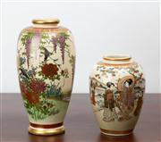 Sale 8774A - Lot 55 - Two satsuma vases depicting flowers of a landscape wisteria and chrysanthemums the smaller example with a geisha behind a river, Hei...