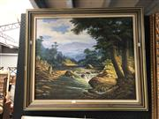 Sale 8853 - Lot 2072 - Artist Unknown - Highland Scene 1987 acrylic on canvas -