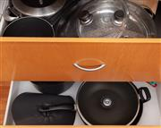 Sale 8891H - Lot 70 - Two drawers of Scanpan saucepans and a wok