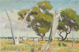 Sale 9099A - Lot 5057 - Edmund Arthur Harvey (1907 - 1994) Two White Horses, Liverpool Plains, NSW oil on board 49.5 x 74.5 cm (frame: 62 x 86 x 3 cm) signed..