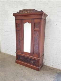 Sale 9108 - Lot 1009 - Edwardian veneered wardrobe with mirrored door, key available (h:232 x w:117 x d:50cm)