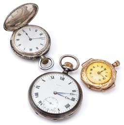 Sale 9124 - Lot 373 - THREE ANTIQUE GOLD AND SILVER POCKET WATCHES; a ladys 9ct gold pocket watch with later lugs, stem wind push pin at 1 oclock, case...