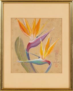 Sale 9155H - Lot 68 - A Yoshie, work on silk dipicting birds of paradise. 15.5x14.5cm