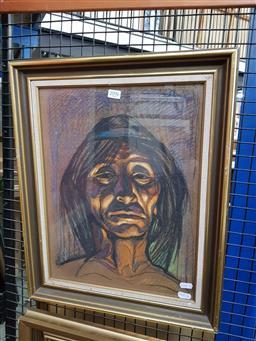 Sale 9155 - Lot 2096 - Alex Novak Portrait, 1996 pastel, frame: 53 x 43 cm, signed and dated lower right -