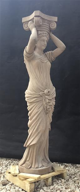 Sale 9175G - Lot 32 - Carved Genuine Stone Caryatid Column Depicting Female Figure. Column Carved From One Piece Stone . General Wear.Size :160cm H x 43cm...