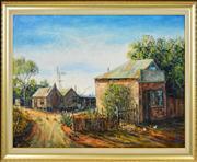 Sale 8349 - Lot 523 - Kym Hart (1965 - ) - Outback Town Scene 49.5 x 74.5cm