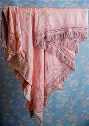 Sale 8577 - Lot 52 - A vintage pink satin bed throw with fringing and flower detail, W 230 x L 290cm, Condition: Vintage Very Good