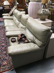 Sale 8851 - Lot 1051 - Leather 3 Piece Lounge Suite inc 3 Seater and Pair of Armchairs