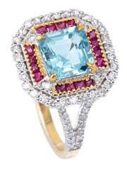 Sale 8982 - Lot 351 - AN AQUAMARINE AND GEMSET RING; centre claw set with a square step cut aquamarine of 1.45ct to surround of mixed cut rubies to border...