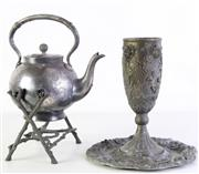 Sale 8994 - Lot 38 - An Italian Decorated Goblet And Dish Together With kettle On Stand