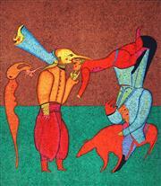 Sale 9032A - Lot 5075 - Mikhail Chemiakin (1943 - ) - Untitled 2 (Carnival Series) 51 x 44.5 cm (sheet: 76 x 53.5 cm)