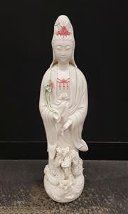 Sale 9080 - Lot 1010 - A Large Porcelain Figure of Guanyin (H 65cm) Missing Fingers