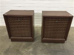 Sale 9151 - Lot 1043 - Pair of vintage Sanyo timber cased speakers (h:65 x w:51 x d:34cm)