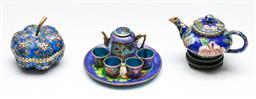 Sale 9156 - Lot 17 - A group of cloisonne wares inc lidded pumpkin (Dia 7cm) miniature tea set