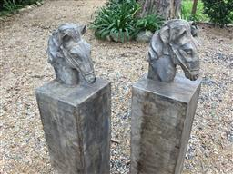 Sale 9175G - Lot 33 - Pair Of Carved Genuine Stone Horse Gateway Posts .General Wear,slight chipping , Marks.Size 120cm HX 20cm W