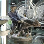 Sale 8306 - Lot 10 - Royal Copenhagen Boy with Bovine Figure