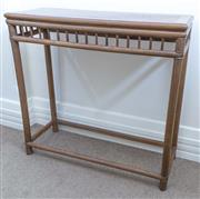Sale 8800 - Lot 6 - A pair of Chinese elm console table of good colour, with galleried apron, H 85 x W 89 x D 33cm