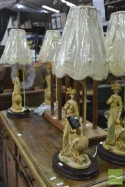 Sale 8347 - Lot 1034 - Set of Four Mother & Child Table Lamps
