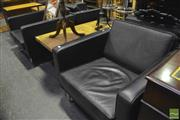 Sale 8361 - Lot 1046 - Woodmark International 4 Black Leather Armchairs