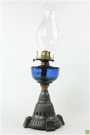 Sale 8594D - Lot 22 - Antique Kerosene Lamp with Blue Reservoir