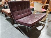 Sale 8765 - Lot 1020 - Mies Van Der Rohe Barcelona Chair By Knoll with Maroon Buttoned Upholstery