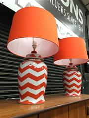 Sale 8859 - Lot 1043 - Pair of Orson and Blake Table Lamps with Orange Shades