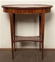 Sale 8871H - Lot 152 - A dainty antique Dutch William V inlaid 2 tier lamp table C: 1800. The oval centre inlaid with satinwood in the form of a Catherine...