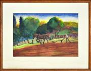 Sale 8325 - Lot 585 - George Duncan (1904 - 1974) - Farmer Tilling Field 35.5 x 52cm