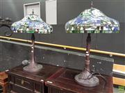 Sale 8593 - Lot 1002 - Pair of Impressive Leadlight Table Lamps