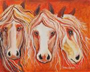 Sale 8720 - Lot 2038 - Greg Lipman (1938 - ) - Carousel Horses 61 x 76cm