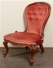 Sale 8871H - Lot 153 - An antique English mahogany waisted back slipper chair C: 1870.The button back and shaped seat front upholstered in dusky pink velve...