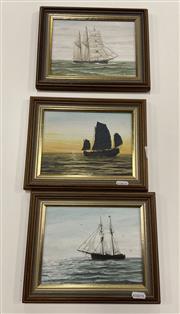 Sale 9004 - Lot 2075 - Eric McGraffin (3 works), Topsail Schooner, Junk at Sunset & Barquentine Senorita , oil on canvas board, frame: 15 x 26 cm each,...