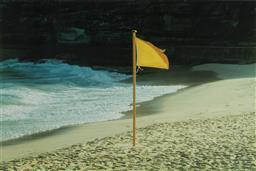 Sale 9084 - Lot 559 - William Yang (1943 - ) - Flag at Tamarama, 1983 89.5 x 134 cm (frame: 129 x 169 cm)