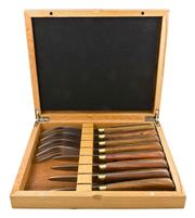 Sale 9080K - Lot 1 - Laguiole by Louis Thiers Séquoia 8-Piece Oyster Set - rosewood handles in timber box