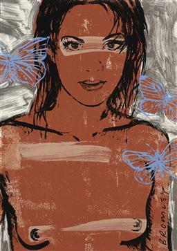 Sale 9195 - Lot 556 - DAVID BROMLEY (1960 - ) Belinda with Butterflies archival pigment print, ed. A/P 84 x 59 cm (frame: 129 x 94 x 3 cm) signed lower right