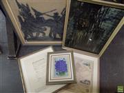 Sale 8557 - Lot 2061 - A Quantity of (5) Assorted Artworks incl.: hand coloured engraving, Thai Mythological Rubbing & Original Paintings/Watercolour.