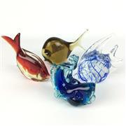 Sale 8607R - Lot 90 - Set of Four Exquisite Art Glass Fish